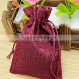 10*14cm Burgundy Wholesale Custom Cotton Jute Linen Storage Candy Packing Small Bag