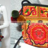 vtg HIPPIE BOHO thai pom pom handmade embroidery Yamm Pouch hmong hill tribe bag small string bag messanger crossbody U