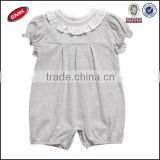 China manufactory cute girls grey plain baby rompers bubble sleeve and ruffled collar toddle clothes