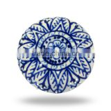 Ceramic Hand Painted Blue Design Knob