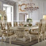 Ivory White Antique European Style Royal Hand Carved 8 Persons Long Dining Table With Matching Side Chair(MOQ=1 SET)