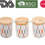 New customized pattern kitchen metal caddy tea sugar coffee canister jar with bamboo lid
