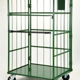 3 Sides Roll Cage Container Green Galvanized Coating For Warehouse