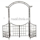 Wrought iron garden arch with gate