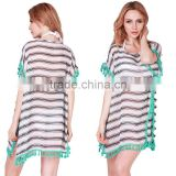 Summer Chiffon Beach Cover Ups Striped Beachwear Dress Tunics Bathing Suit Swimsuit Cover Up Swimwear Robe