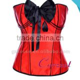 Satin Black Bow Decoration Red Wonder Woman Corset Tops