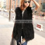 2015 new long style girls V neck fire chicken feather vest and turkey feathers gilet
