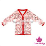 High Quanity Valentine's Day Children Clothing Coat Printed LOVE Long Sleeve Baby Girl FAUX SUEDE Fancy Sweet Girl Coat
