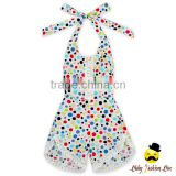 New Model Design Polka Dots Printed Halter Sleeveless Lace Trim Baby Girl One Piece Climbing Romper Harem Jumpsuit