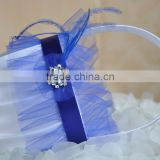 2016 New trendy White and royal blue ribbon tulle Satin Wedding Flower Girl Basket Wedding Decorations handmade feather basket