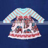 2015 children spring fall clothing stripe long sleeves cotton tops and elephant print skirt baby girls party dress YW-032