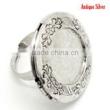 5PCs Antique Silver Round Photo Frame Locket Rings 17.5mm US 7, Fit 24mm Dia. Ring Setting