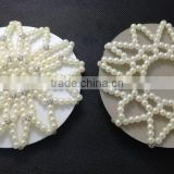 NEW AND SEALED CRYSTAL BEADED HAIR BUN NET FOR HORSE RIDING SHOW HELMET Handmade Pearls Diamante Hair Bun Net Holders