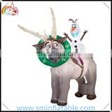 Christmas inflatable reindeer, inflatable snowman with reindeer for outdoor led lighted christmas decor