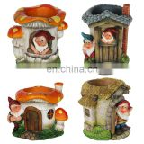 little gnome with house flowerpot for balcony decoration