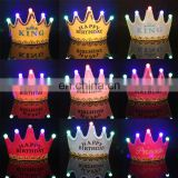 MCH-2318 New wholesale party decoration led flashing happy birthday king princess tiara crown headband hat for kids