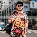 Pumpkin design oversize men's round neck t shirts in vogue