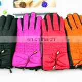 Fashion Cheap bowknot pendant female cute Winter warm cashmere leather driving gloves