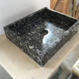 Black Sea Shell Marble Bathroom Vessel Rectangular Sink Black Marble Wash Basin