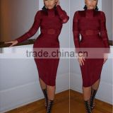 2016 new women winter dress sey luury bodycon wine red long sleeve tuetleneck mesh evening party prom ball bandage Dress