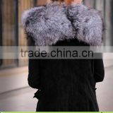 2013 Best Selling Silver Fox Fur & Pigskin Vest for Women,Leather Coat without Sleeveless