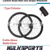 OEM Ultra light carbon disc brake wheelset 50mm 700c road bike tubular wheels bicycle carbon disc wheel