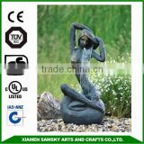garden ornaments fiberglass bronze lady fountain
