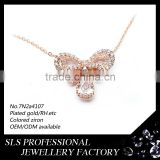 2016 fashion jewelry 925 silver neckalce rose gold plated jewelry factory wholesale necklace