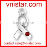 vnistar metal alloy red crystal breast cancer survivor medical alert ribbon charm for jewelry making TC193-1