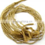 "2 Strands Natural Bear Quartz 2.5-3mm Faceted Drilled Rondelle 13"" Long Jewelry and Necklace Making Beads"