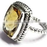 925 sterling silver citrine Classic handmade gemstone ring
