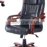 Professional Factory Sale 360 Degree Swivel Elegant Boss Office Chair With Wooden Armrest