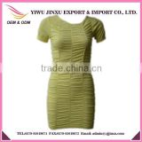 Fancy Design Seamless Solid Color Sexy Pencil Short Sleeve Ladies Crossfit Dress
