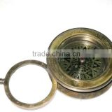 Nautical Brass compass with magnifying pendant/ Nautical Pendant / Mini calender sundial FOR PENDANT