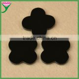low prices four leaf clover natural black fire agate gemstones for jewelry