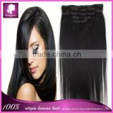 Brazilian virgin remy nature hair and straight factory price clip in hair extension