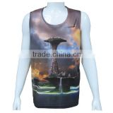 wholesale 100% polyester full printed mens gym singlets workout tank tops , custom made mens gym clothing , mens gym wear