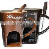 hot sales chocolate fondue mug with fork and candle