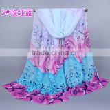 Scarf China Wholesale ROSE flower Pattern Scarfs ladies Chiffon silk scarves pashmina shawls