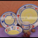 small flower design stoneware tableware made in China 16pcs ceramic dinnerware handpainted stoneware dinner set