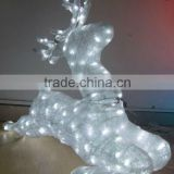 Acrylic Reindeer Christmas Display Decoration/3d Animal Sculpture Light / Waterproof Led 3d Deer Motif Animal Christmas Light
