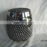 BLACK PEARL MOSAIC GLASS HURRICANE CANDLE HOLDER