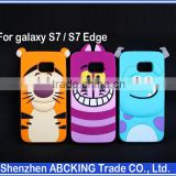 Cute Animal 3D Cartoon Silicone Case Cover For Samsung Galaxy S7 / S7 Edge Sulley/Cat/Tiger Soft Cover