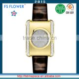 FS FLOWER - SWF059 Brushing Watch Case Tone Golden Plated Shining Leather Strap Quartz Wrist Watch Women Fashion