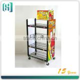moving metal wire layer wine display racks with wheelHSX- 1178