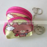 Chinese Manufacturer Custom Personalized Zipper Coin Purse With Key Chain