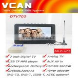 Analog TV DTV700-DVBT2 set top box 7 inch Digital lcd TV USB TF MP5 player AV in Rechargeable Battery