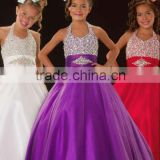 Hot sale halter beaded purple custom-made ball gown junior girls pageant dresses CWFaf4671
