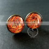 20mm vintage style antiqued bronze Paris old map art collage glass cabochon round cufflinks fashion wedding cuff links 6600036