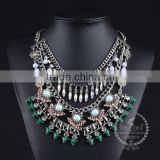 high quality vintage rhinestone chunky statement necklace tin alloy fashion women pendant necklace 6390123